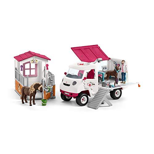 SCHLEICH 42381 Spiel-Set Tierarztbesuch auf dem Hof besteht aus : Horse Club Spielfiguren Mobile Tierärztin 42370 + Pferdebox .