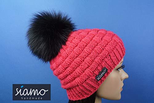 Merino-Mütze ANTHOLZ pink Unisex mit vegetarischem Fellbommel Beanie Pudelmütze