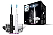 Philips Sonicare DiamondClean Smart Elektrische Zahnbürste HX9912/18, Doppelpack, 2 Schallzahnbürsten, Ladeglas, Reiseetui, Andruckkontrolle, schwarz/weiß©Amazon