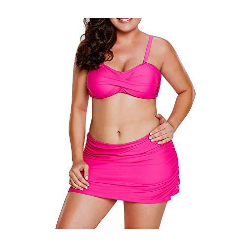 Badpak dames badmode tube top strap bikini + broek rok plissé