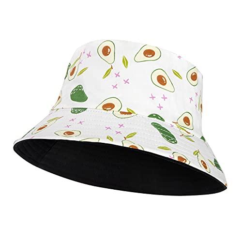 Sombrero del Pescador Reversible Algodón Plegable, Mujer Hombre Funky Fruta Impresión Bucket Hat, Protección Solar Gorro de Playa Al Aire Libre Camping Viaje 56-58 cm
