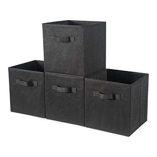 BrillantJo Fabric Aufbewahrungsbox, 4er Set Faltbare große Organizer-Würfel Korbbehälter Schubladen Behälter mit Griffen für Würfelregal Home Office Nursery Organization,Schwarz 33 x 38 x 33 cm