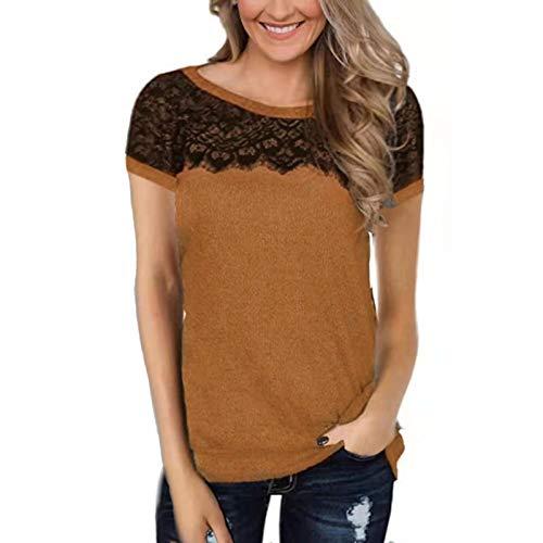 SLYZ Camiseta De Manga Corta De Color Sólido con Costura De Encaje De Moda De Verano para Mujeres Europeas Y Americanas Top Mujeres