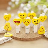 10x Wooden Smiley Yellow Color - Pack of 3 RUST AND MOISTURE RESISTANT: the colorful durable clothespins is made of natural wood, sprayed with coated paint; Lightweight and lovely Mini wooden clips size is 1.42 x 0.41 x 0.28 inches; They can clip pic...