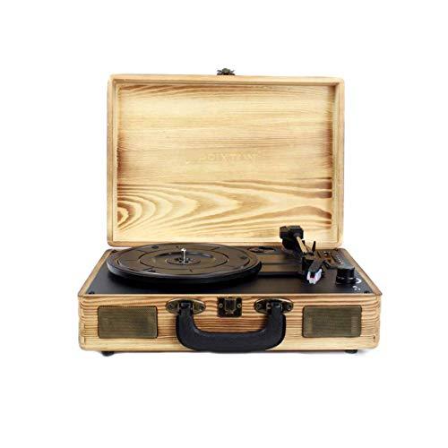 PRIXTON VC400 - Tocadiscos de Vinilo Vintage, Reproductor de Vinilo y Reproductor de Musica Mediante Bluetooth y USB, 2 Altavoces Incorporados, Diseño de Maleta, Color Madera