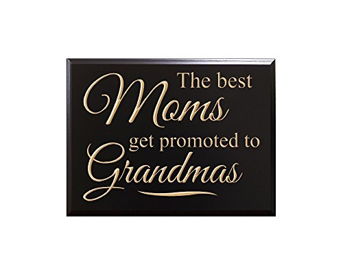 TimberCreekDesign The Best Moms get Promoted to Grandmas Decorative Carved Wood Sign Quote, Black