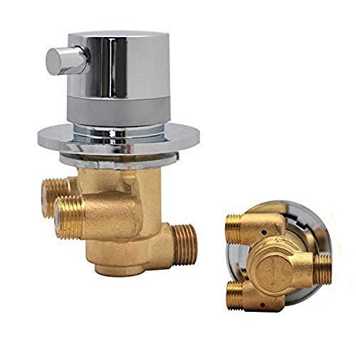AFRUDDR Grifos termostáticos de ducha de latón con salida de 1 vía Grifo monomando de válvula de mezcla de agua y frío montado en la pared para cuarto de cabina de ducha, como Po