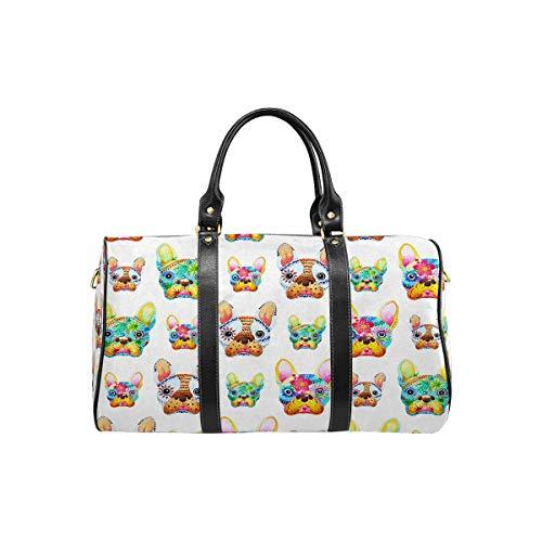 InterestPrint Weekender Bag Overnight Carry-on Tote Duffel Bag French Bulldog Sugar Skull, Frenchie Cute Dog