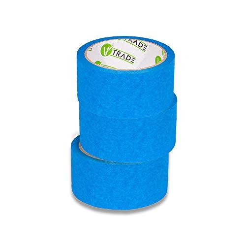 V1 Trade - Malerband - Blue Tape, UV-Beständig Wasserdicht Outdoor Blau Kreppband Malerkrepp (50 mm x 25 m (3 Stück))