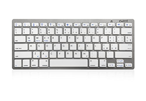 Ewent Ew3160 Tastiera Bluetooth 3 Keyboard Wireless Italiana Compatibile con Dispositivi iOS Come iPad, iPhone, Mac, Dispositivi Android e Windows Pc, Colore Argento/Bianca