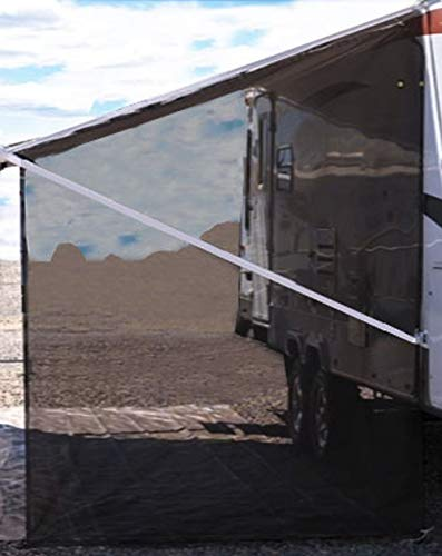 Tentproinc RV Awning Side Shade 9'X7' - Black Mesh Screen Sunshade Complete Kits Camping Trailer Canopy UV Sun Blocker - 3 Years Lasting
