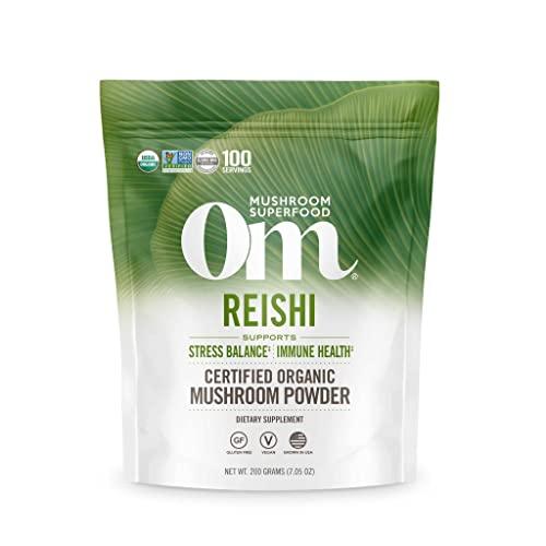 Om Mushroom Superfood Reishi Organic Mushroom Powder, 7.05 Ounce, 100 Servings , Adaptogen, Stress & Immune Support, Superfood Mushroom Supplement