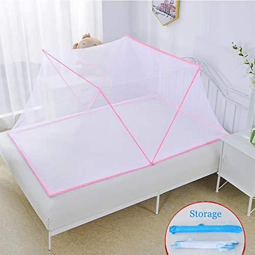 Fencse Moskitonetz Faltbare,Quadratische Einzel Bett Fliegennetz Mückennetz,Anti Mosquito Bites Moskitonetz, Feinmaschiges Pink-190 * 110 * 75cm