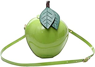 Women's Fashion Apple Shape Handbag Hosamtel Ladies Zipper Shoulder Bag Messenger Bag (Green)