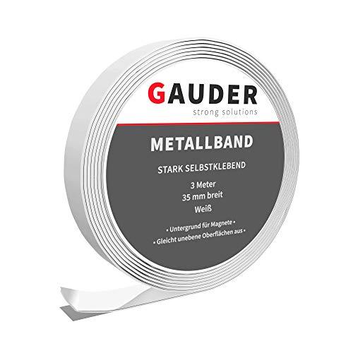 GAUDER Cinta Metálica Autoadhesiva para Imanes | Tira Metálica Adhesiva | Banda de Metal Flexible