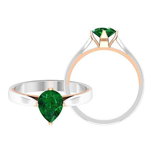 Anillo solitario de 3/4 quilates esmeralda, anillo de 5 x 7 mm en forma de pera, anillo de compromiso de dos tonos, anillo de metal mixto, 18K Oro rosa, Size:EU 65