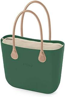 Tasche O Bag oder City schwarz Velours Doppelgriff kurz Lack