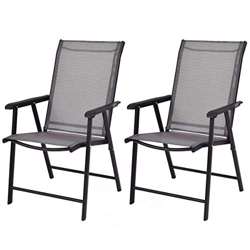 Giantex 2-Pack Patio Folding Chairs Portable for Outdoor Camping, Beach, Deck Dining Chair w/Armrest, Patio Chairs Set of 2, Grey