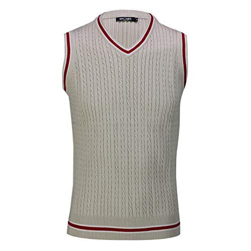 Xposed Herren Pullover, ärmellos, V-Ausschnitt, Retro-Zopfmuster, Cricket-Pullover Gr. X-Large, beige