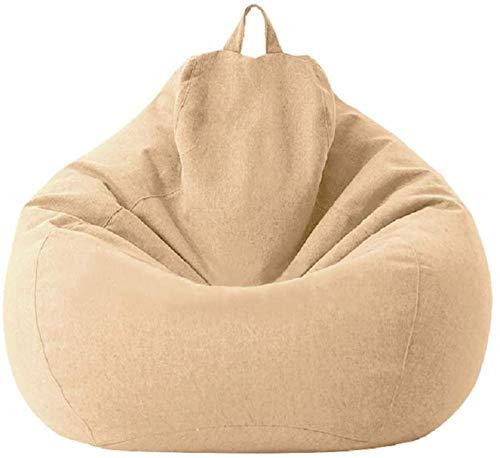 MeButy Puf grande para sofá sin relleno Lazy Lounger con respaldo alto, para adultos y niños, talla L caqui