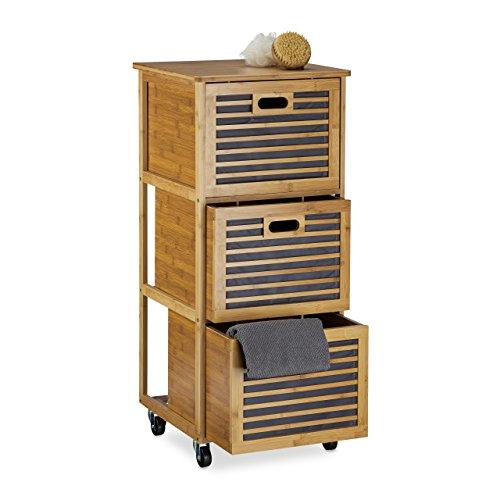 Relaxdays trolley met laden van bamboe met 3 vakken, h x b x d: 92 x 41 x 41 cm, nuttig badkamerrek met schuiflade met wielen als wasbox en ladekast voor badkameraccessoires, natuur