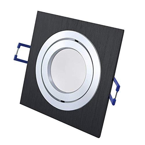 Spot LED SMD carré encastrable Star Black 230 V avec douille GU10 pour plafonnier, ampoule halogène (câble de raccordement de 15 cm inclus) Moderne LED 8W (700lm) Warmweiss