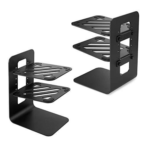 Vaydeer Lautsprecherständer Aluminium 2 Tier Lautsprecher ständer Schreibtisch 1 Paar Spezial-Kipp-Design Metall Speaker Stand Boxenständer für Computer Lautsprecher - Schwarz
