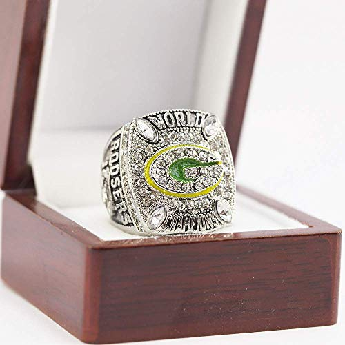 WANZIJING 45. Super Bowl Championship Ring, Green Bay Packers NFL 2010 Meister-Ring-Replica-Kollektion mit Display Box,10