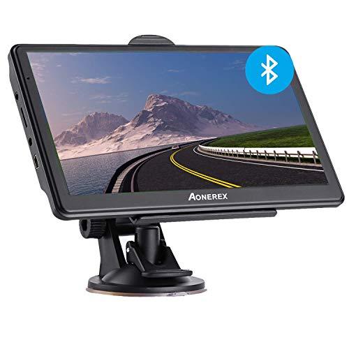 Bluetooth Navi Navigation für Auto LKW PKW GPS Navigationsgerät 7 Zoll mit Freisprecheinrichtung Blitzerwarnung POI Sprachführung Fahrspur Neueste Europa 52 Karten Lebenslang Kostenloses Kartenupdate