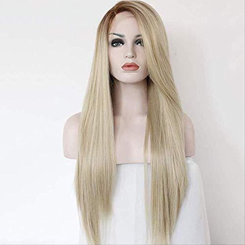 Nouvelle mode moyenne longue ligne droite cheveux teints perruque réparation de visage réaliste
