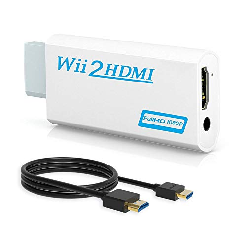 Wii to HDMI Converter, Wenter Wii to HDMI Adapter, Wii to HDMI 1080p 720p Connector Output Video & 3.5mm Audio with HDMI Cable