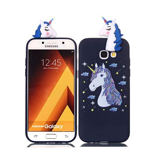 Galaxy A5 (2017) Hülle, Samsung Galaxy A520 Schutzhülle, 3D Einhorn-Fantasie Muster Design Handy Hülle für Samsung Galaxy A5 (2017) / A520, Ultra Dünn TPU Weich Silikon Handycover Schale Schutzhülle
