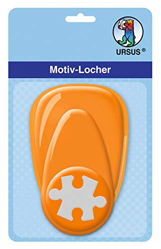 Ursus Hole Punch with Lever, Medium, Puzzle, Approx. 25.4 mm Orange