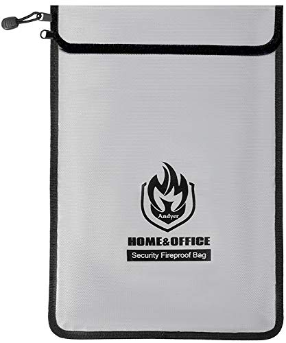 "Upgraded Two Pockets Fireproof Document Bags (2000℉), Andyer 15""x 11""Waterproof and Fireproof..."