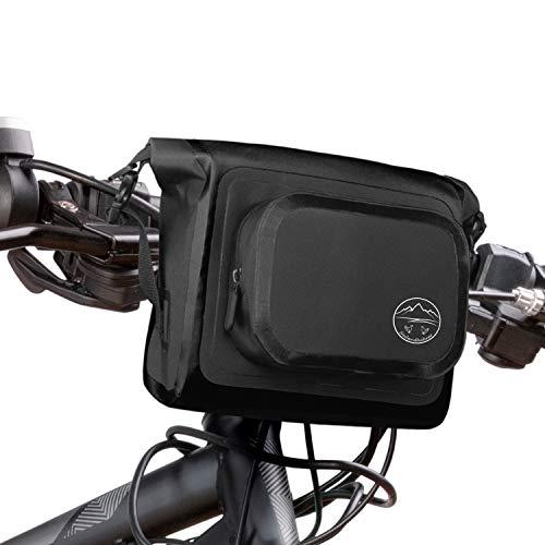 freilandhühner Bolsa para manillar de bicicleta, bicicleta de carreras, bicicleta de montaña, espacio para teléfono móvil, monedero, botella, 3,5 litros, impermeable, fijación de velcro de 3 puntos