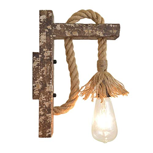 AGWa Wall Lamp Vintage Industrial Wall Lamp, Wooden Hemp Rope Retro Wall Light Loft Antique Wall Sconce Lamp for Kitchen Bar Decoration Lamp Wall Light