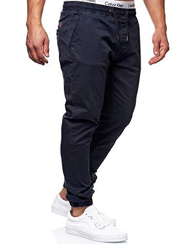 Indicode Herren Fields Stoffhose mit 4 Taschen aus 98% Baumwolle | Lange Regular Fit Stretch Hose mit Kordelzug Herrenhose Baumwollhose Männerhose Freizeithose für Männer Navy XL