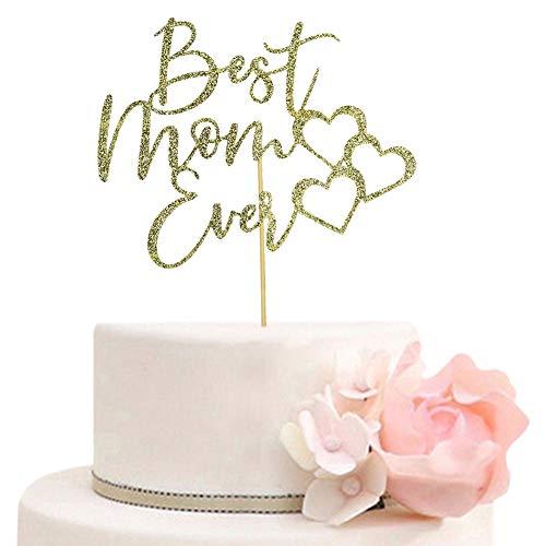Decoración para tarta con purpurina para cumpleaños de mamá, feliz día de la madre, decoración de fiesta del día de la madre, dorado