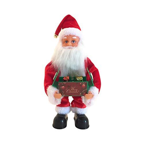 QIUMINGSS Niedlicher Weihnachtsmann Höhe 40CM Musik Spielzeug Plüsch Weihnachten Puppen Elektrisches Beleuchten Spieluhr Weihnachten Dekoration Weihnachtsdeko Innenraum-Deko Fensterdeko