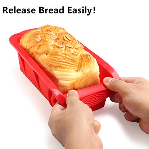 Silicone Baking Molds, Ieasky 3 Piece Professional Non-Stick Silicone Cake Mold Set Including Round Cake Mold Bread Mold and Oil Brush for Baking Banana Bread Loaf Pound Cake