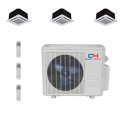 Cooper and Hunter Tri 3 Zone Ductless Mini Split Air Conditioner Ceiling Cassette Heat Pump 9000 9000 12000