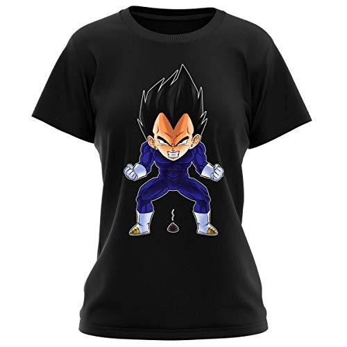 Okiwoki T-Shirt Femme Noir Parodie Dragon Ball Z - DBZ - Végéta - Super Caca Vol.2 (T-Shirt de qualité Premium de Taille L - imprimé en France)