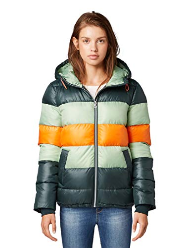 TOM TAILOR Denim Damen Jacken Pufferjacke mit Colourblocking Sycamore Green,M