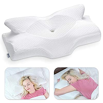 Elviros Cervical Contour Memory Foam Pillow for Neck Pain Orthopedic Neck Pillow for Shoulder Pain Ergonomic Head Neck Support Pillow for Side/Back/Stomach Sleepers with Removable Cover