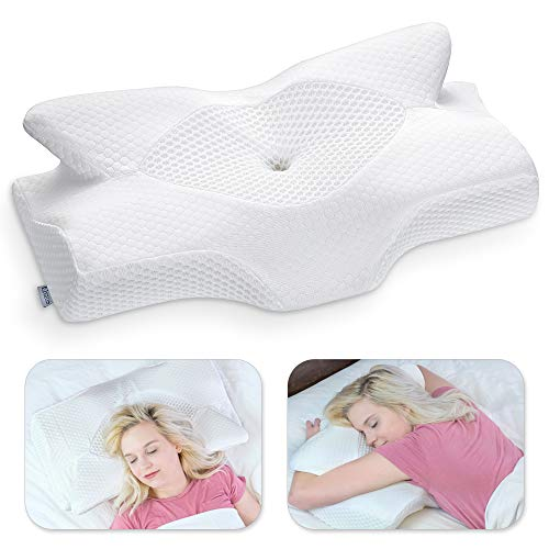 Elviros Cervical Memory Foam Pillow, Contour Pillows for Neck and Shoulder Pain, Ergonomic Orthopedic Sleeping Neck Contoured Support Pillow for Side Sleepers, Back and Stomach Sleepers (White-S)