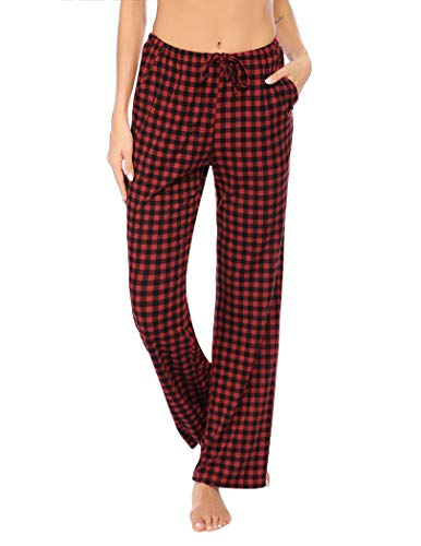 Hotouch Women's Christmas Pajamas Pants Xmas Gifts Pajama Bottoms Pants Plade M