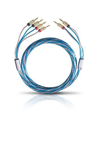 Oehlbach Bi Tech 4B 200 - Lautsprecherkabel-Set Bi-Wiring versilbert 2x2,5/2x4,0 mm² mit Banana-Verbinder - 2 x 2 m - blau/Kupfer