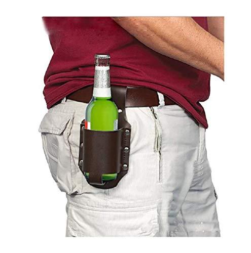 1880 Bier Bier Echt-Leder Flaschenhalter Bier-Halter Bier Bier-Gürtel als Geschenk für Freund, Kumpel, Kollegen/Junggesellenabschied (braun)
