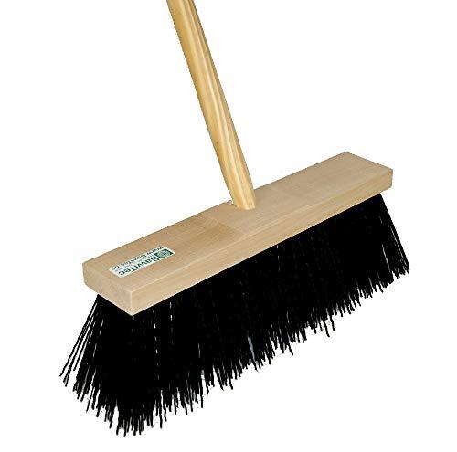BawiTec speciale bezem straatbezem 32cm 40cm elaston zwart met steel 140cm 160cm speciale bezem lange borstelharen Besen 32cm / Stiel 140cm zwart