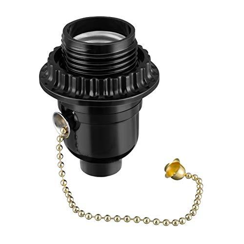Mobestech Adaptador para toma de corriente de 2 piezas, soporte para lámpara adaptador de enchufe de tornillo con interruptor de cadena negro